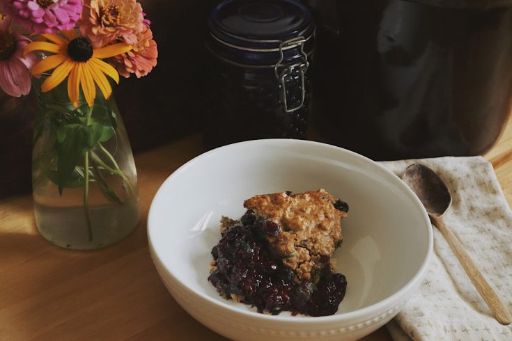 Verity Folk School Blueberry Cobbler in a white bowl on a wood counter with a vase of flowers