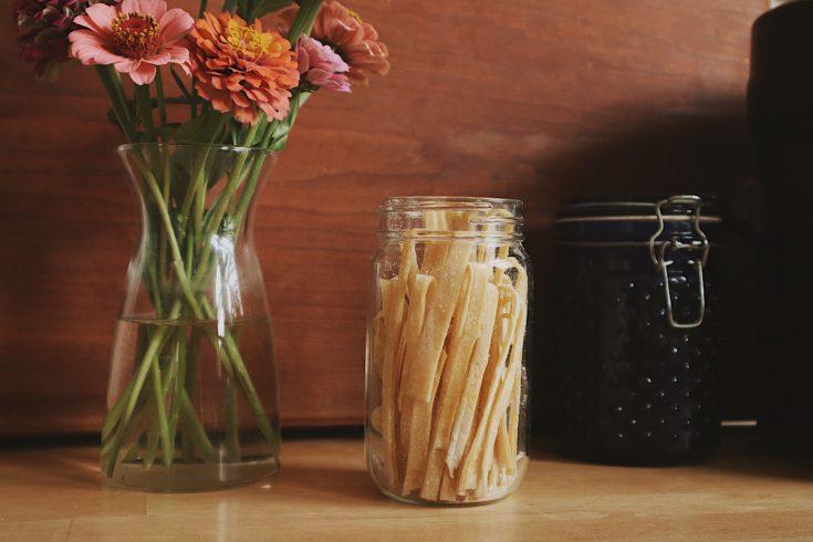 Verity Folk School egg noodles in a glass jar