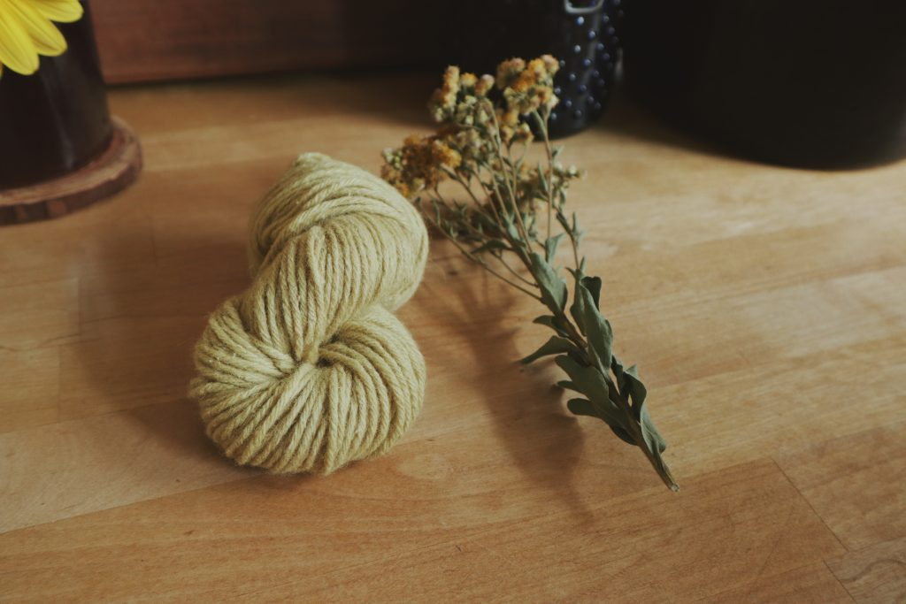 Verity Folk School Wool Yarn Dyed Naturally with Goldenrod Flowers