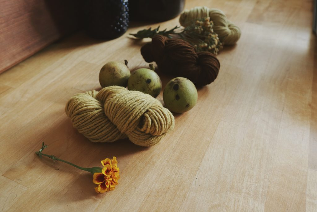 Verity Folk School marigold, goldenrod and black walnut dyed yarns dyeing wool naturally with plants