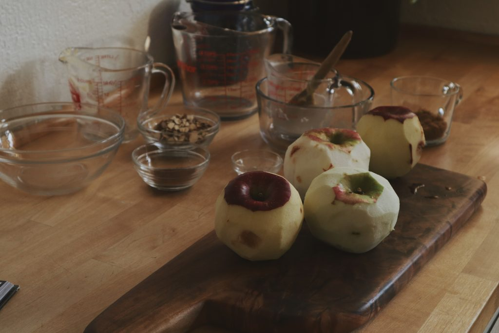 Verity folk school fresh apples peeled for making apple cake